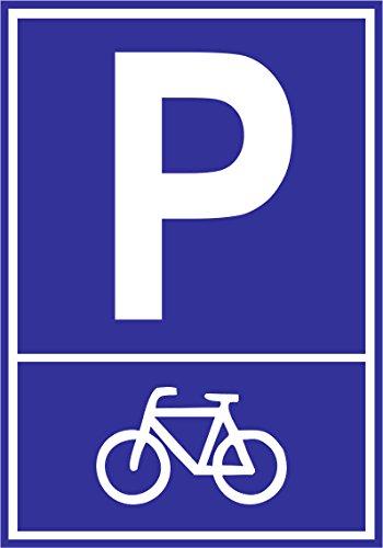 INDIGOS UG - Parkplatzschild - Fahrrad Motiv - Alu-Dibond-Schild 30x21 cm - Warnung - Sicherheit - Hotel, Firma, Haus