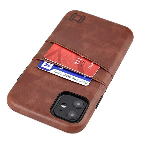 Dockem iPhone 11 Wallet Case: Built-in Metal Plate for Magnetic Mounting & 2 Credit Card Holders (6.1' Exec M2, Synthetic Leather, Brown)