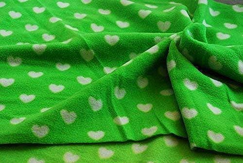 Qualität bedruckt Anti-Fussel Polarfleece Stoff Material - Grün Weiß Herzen - 10metres 100cm   x 15cm