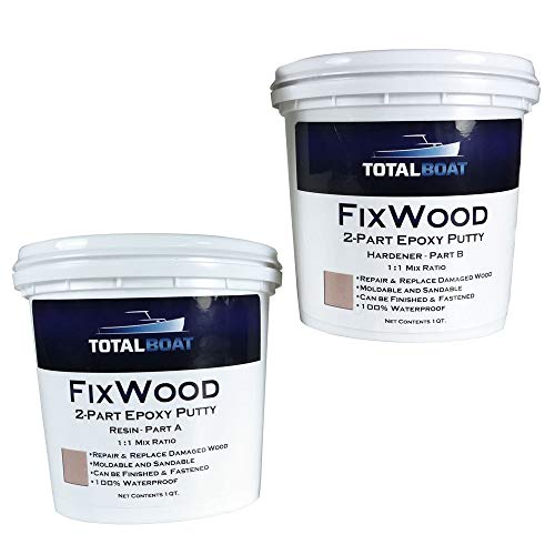 TotalBoat - 512884 Fixwood | Marine Grade Epoxy Putty | Stainable Paste Filler for Damaged Wood Repair or Replacement (2-Pint Kit)