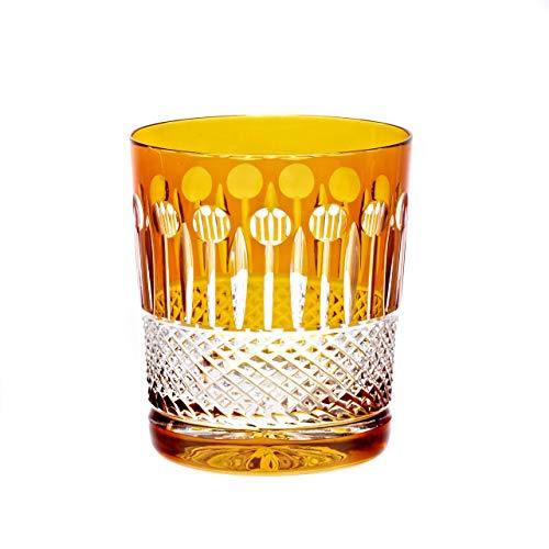 CRISTALICA Verre à Whisky Tasse à Boire Jaune en Cristal taillé à la Main 280 ML