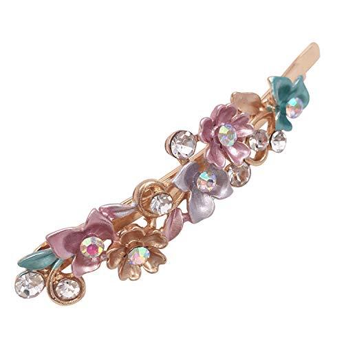 6 Colorful Vintage Decorative Flower Design Metal Gold Tone Hair Pins Slides Accessories Women Girls