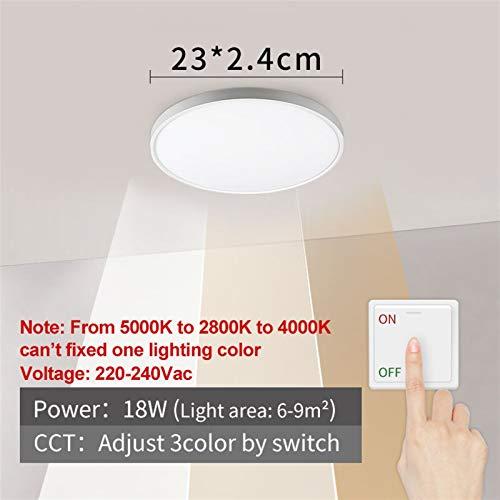 Sencillez Luz de techo LED 12W 18W 24W 32W 220V 5000K Dormitorio de cocina Lámparas de baño Lámpara de techo ultrafina para el pasillo de la sala de estar (Body Color : 18W 3Colors)