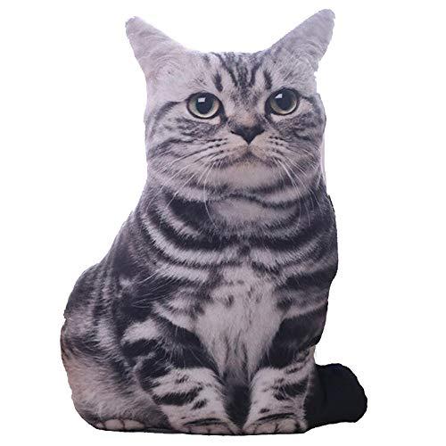 ZZM Almohada en forma de gato de animales 3D, almohada de peluche cojín decorativo sofá silla juguete de peluche regalos fiesta Navidad Año Nuevo decoraciones (C)