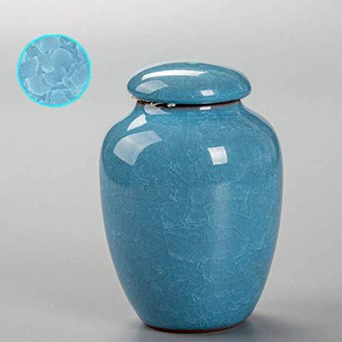 liangh Urnas Funeraria para Cenizas De Mascotas,urna De Cremación para Cenizas Humanas Adulto,Grande Urnas para Cenizas,Blue-6.5cmX12cm