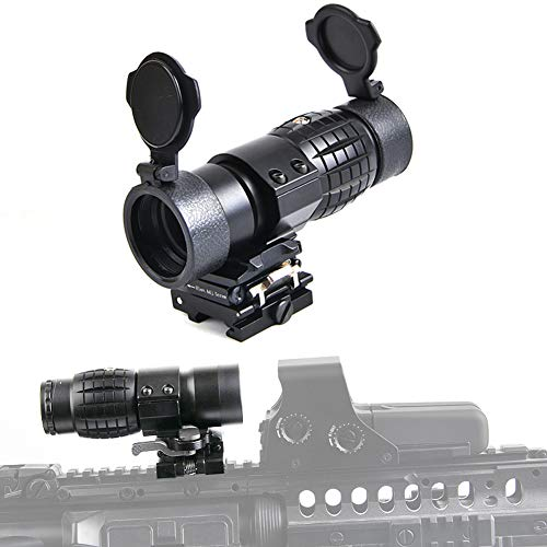 BESTSIGHT 3X Magnifier Scope Sight with Flip to Side 20mm Mount Picatinny Weaver Rail, Quick Detach FTS Suitable for Reflection and Holographic Sight.eg:M2
