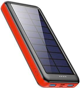 Cargador Solar 26800mAh, Ekrist Batería Externa Solar de Carga Rápida con 3 Entradas【Panel Solar / Tipo C / Mirco USB】Power Bank Solar Cargador Portatil para iPhone Samsung Android Móviles Tableta