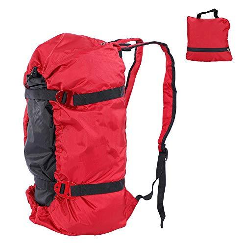Klettern Seil Tasche, Tragbare Outdoor Camping Wandern Falten Schultergurt Ausrüstung Rucksack(Rot)
