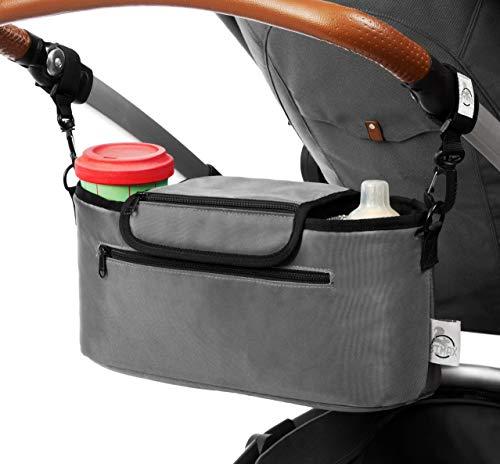 BiMAX Kinderwagen Organizer inkl. Schulterband, Isoliertasche und Befestigungshaken I Kinderwagentasche I Pram, Buggy Organizer (Grau)