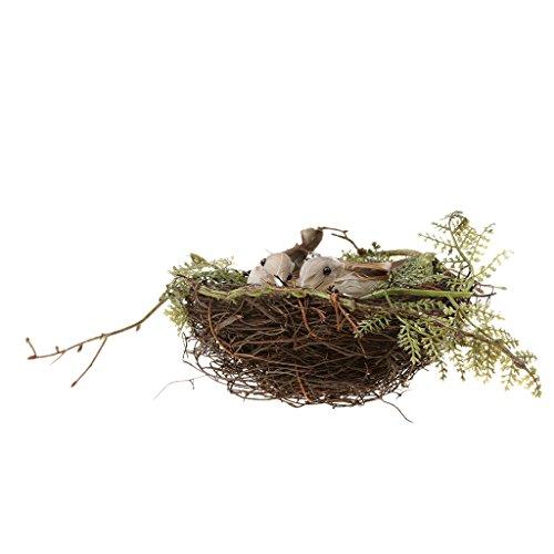 MagiDeal Set de 1pc Nid D'oiseau +2pcs Oiseaux Atfificiels à Plume + 5pcs Oeufs Décoration Rustique - 02
