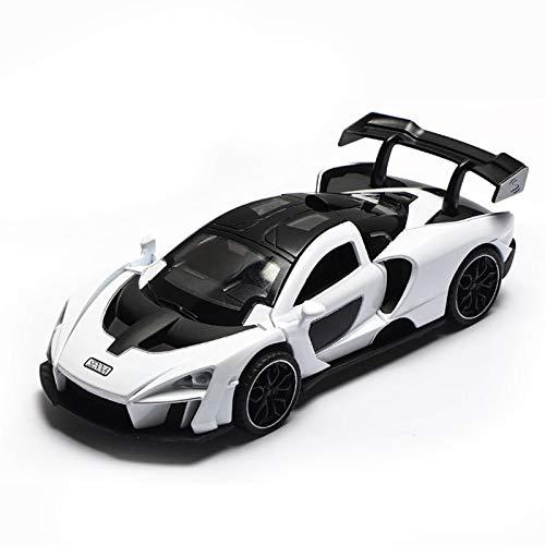 NMBE Simulación 1:32 Aleación para MCLA REN Senna Toy Car Car Modelo Metal Toy Diecast Vehicle Sound Light Pull Back Toy Regalos Modelo De Auto (Color : White)