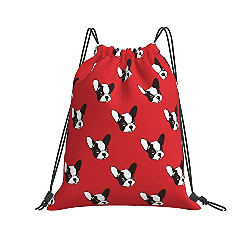 Drawstring Bags French Bulldog Red Storage Laundry Bag Pouch Bag Drawstring Backpack Bag Washable Dust-Proof Breathable Travel Sport Gym Sackpack for Men Women 14 x 16 Inch