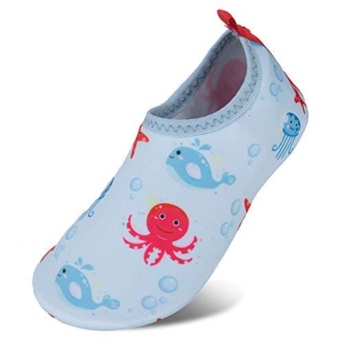 Calcetines de Piscina de Secado rápido Antideslizantes para niños y niñas Surf Yoga jardín niños Descalzos Zapatos de Playa o Zapatos para Deportes acuáticos(Xzy Azul Brillante,32/33 EU)