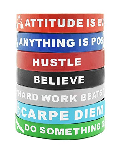 Motivational Silicone Wristbands with Inspirational Messages 7-Piece Silicone Rubber Stretch Bracelets for Men, Women and Teens.