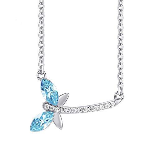 QHG Collar de Mujer de Plata Ajustable Tops para Mujer Vestidos Collar Collar de Plata Moda de Mujer Simple y versátil Creative Dragonfly Crystal Clavicle Cadena para Mujeres para niñas (Color : B)
