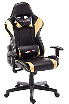 Morfan Gaming Chair Massage and Rocking Function Computer PU Leather Swivel Racing Style Office Chair with Adjusted Headrest & Lumbar Support F Series  Black/Gold  …