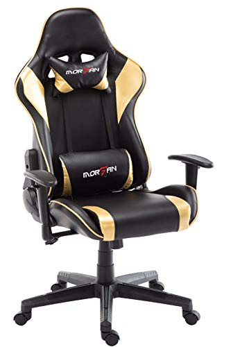 Morfan Gaming Chair Massage and Rocking Function Computer PU Leather Swivel Racing Style Office Chair with Adjusted Headrest & Lumbar Support F Series (Black/Gold) … black chair gaming