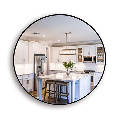 Muzilife - Espejo redondo de cristal, diámetro de 40 cm, HD, espejo de pared con marco de metal, para vainilla, cuarto de baño o dormitorio (negro), Negro , 40 x 40 cm