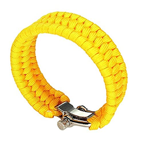 1 Pack de pulseras pulsera de supervivencia ajustable de acero inoxidable Grillete del paracaídas por que va de excursión al aire libre, Siete Core paraguas cuerda pulsera trenzada