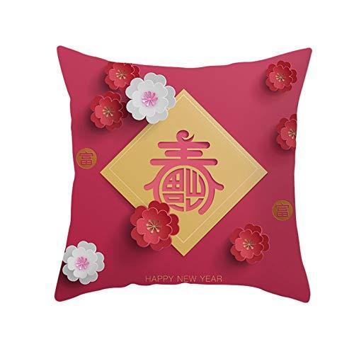 ACYKM Funda cojín Funda Almohada para sofá Impresión Digital Funda Almohada Bordada China, Funda Almohada para el día del año, decoración del hogar, Funda cojín con borlas, Almohada para el año