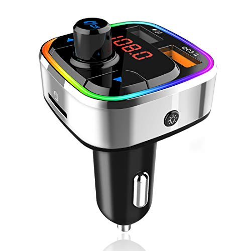 Transmisor FM Coche Bluetooth 5.0, Adaptador Audio Coche Radio Transmisor FM para Kit Manos Libres Coche con Cargador USB Coche QC3.0 & 5V/2.4A, 6 Colores Luz,Reproductor Música MP3 con Tarjeta TF/USB