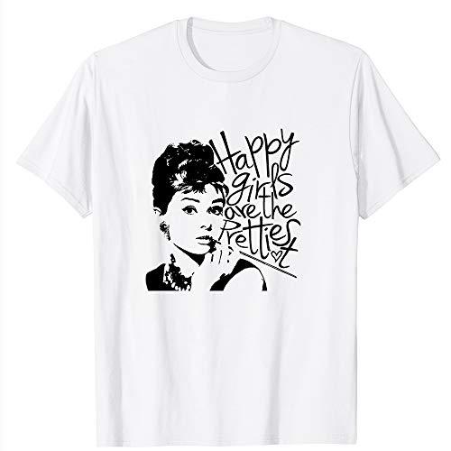 Audrey Hepburn Happy Pretty Prettiest Movie Film Quote Motivational Vintage Gift Men Women Girls Unisex T-Shirt (White-2XL)