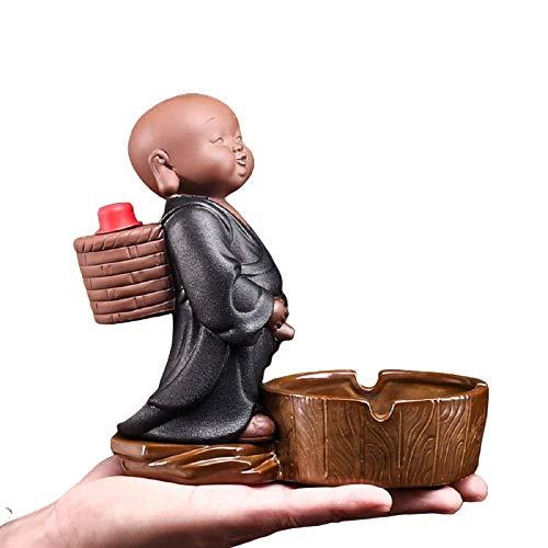 WXD Cenicero de Fumar Creativo en Forma de Monje Cenicero de Cigarrillo de cerámica para Uso en Interiores o Exteriores, diseño de pulverización de Agua