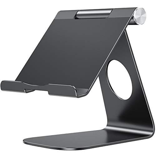 OMOTON Soporte Tablet Ajustable, Multi-Ángulo Base Tablet de Aluminio para iPad Pro 10.5/9.7/12.9/10.2, iPad Mini 2/3/4/5, iPad Air/Air 2, Samsung Tab, Kindle y Otras Tabletas de 7~13 Pulgadas, Negro.