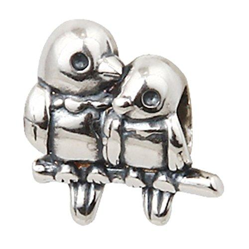 Charm de pájaro de amor de plata de ley 925 para mascota encanto de animal encanto de corazón de Valentina encanto aniversario para pulsera Pandora (C)