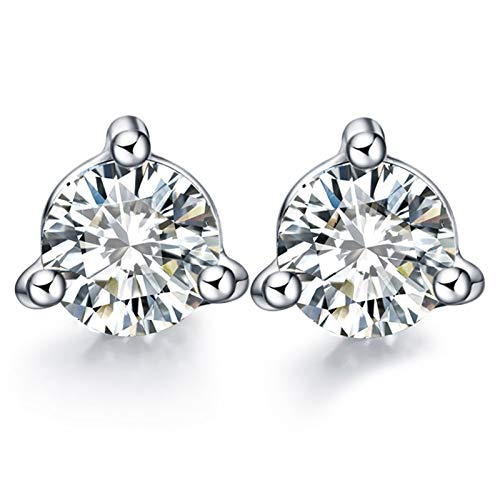 ANAZOZ 18K Oro Blanco Pendientes de Mujer Pendientes de Mujer Redondo con 3 Garra Diamante Blanco 0.03-0.2ct