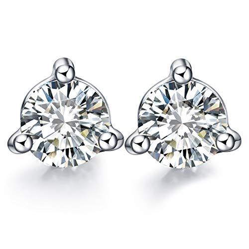 KnSam Boucle d'Oreille Femme Fine Diamant 0.03ct, Or Blanc 18 Carats Élégance Cadeau Noël