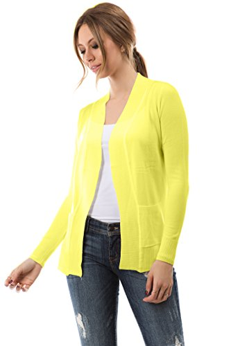 Cielo Open Front Solid Color Long Sleeve Sweater Cardigan Yellow M