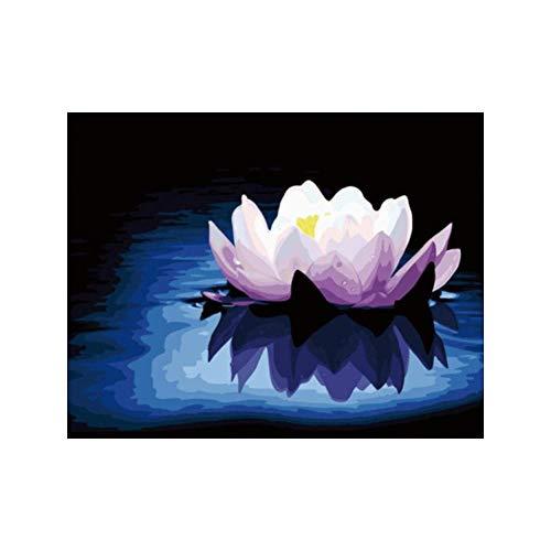 xdai DIY Malen nach Zahlen für Erwachsene Ölgemälde Kit für Kinder Anfänger,Blühender lila Lotus Leinwand Weihnachten Geschenk Heimdekoration Ohne Rahmen-50x60cm