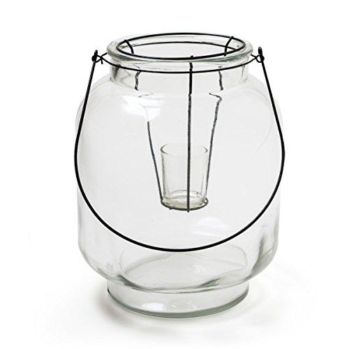 ZARTMANN LIVING Windlicht MIRIYAM - Glas - 30 cm - Laterne mit Henkel und Glaseinsatz - Teelichthalter - Hängewindlicht