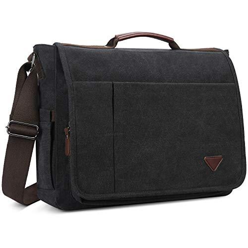 Laptop Bag,Mess Computer Bag,17 inch Shoulder Benger Bag,Canvas Shoulderag (17.3, Black)