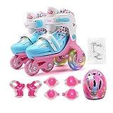 Patines Niños Niños Precioso Estable Equilibrio Slalom Paralelo Intermitente Hielo Zapatos del Rodillo Ajustable Lavables prevención de caídas ( Color : Pink Set EUR27 30 )