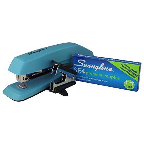 "Swingline 3-in-1 Deluxe Desktop Stapler Set, Includes 1250 1/4"" S.F.4 Premium Full Strip Staples and Staple Remover, Blue"