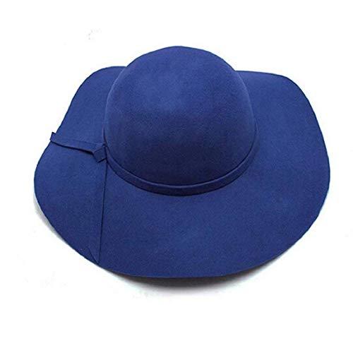Mützen Damen Elegante Wide Brim Filz Hut Modern Style Bowler Mode Sunscreen Cozy Strandhut Schlapphut Caps (Color : Blau, Size : One Size)