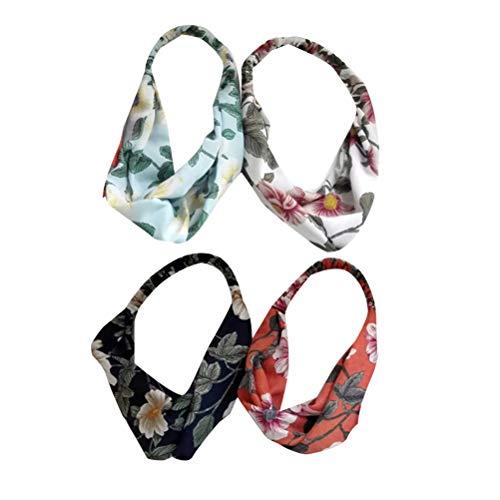 4 stuks Flower hoofdband vintage grote bloemen bedrukte twist knopen elastisch haarband voor vrouwen