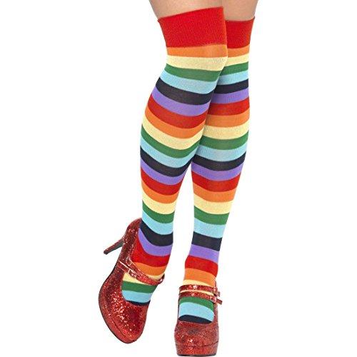 NET TOYS Regenbogen Kniestrümpfe Clown Strümpfe gestreift Ringelstrümpfe Overknees bunt Ringelkniestrümpfe Clownskostüm Zubehör