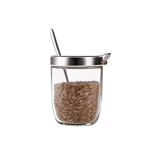 XVXFZEG Innovadora Shell Segura tapa condimento tarro Sal Pimienta pote de aderezo botella de cristal transparente con la cuchara for el hogar Cocina Uso Pimienta Sal tanque con cuchara del acero inox