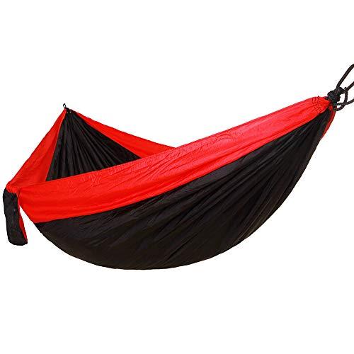 QETUOA Hamaca Doble para Acampar Al Aire Libre, Tela De Paracaídas Ultraligera 300 * 200 Cm, Columpio De Playa Portátil Transpirable para Acampar En El Jardín (Negro Rojizo)