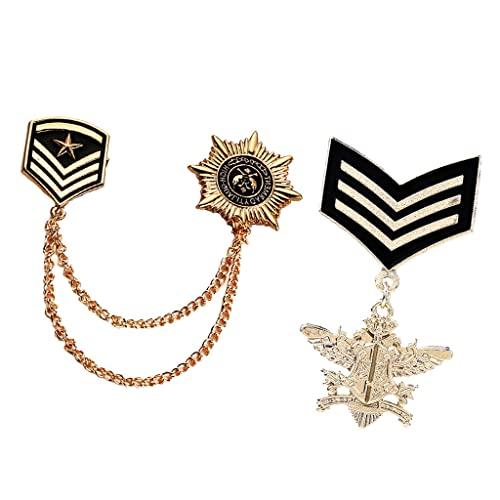 P Prettyia 2 Pcs Broche en Forma de Medalla Militar + Cadena de Insignia Ejército, Regalo para Hombre, Dorado
