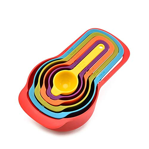 YBDZ 6 Pcs/Set Kitchen Measuring Cup Rainbow Color Stackable Combination Measuring Cup Tools Baking Kitchen Accessories Tools