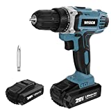 Cordless Drill, WESCO 20V Drill Driver Cordless Screwdriver, 1 x Li-ion Battery, 21+1 Torque Setting, 3/8 inch Keyless Chuck,Variable Speed and LED light, Fast Charger, Belt Clip WS2972