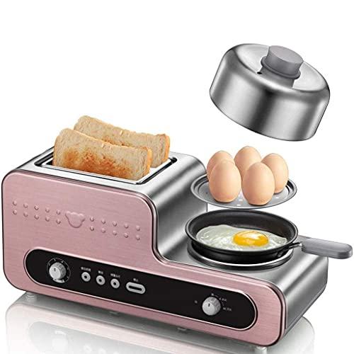 Frühstückshelfer Schneller Eierbagel und Muffin Wide Slot Toaster mit Fleisch- oder Gemüsewärmetablett mit Eierkocher und Wilderer, 2 Scheiben
