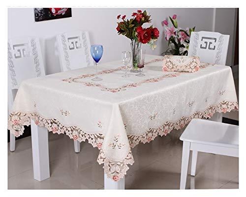 NJS Tischdecke Luxus bestickte Tischdecke Tisch Esstisch Abdeckung Tischtuch Hochzeit Blume Rot Rose Blume Stuhlabdeckung Kaffeetisch (Farbe : 1018 Little, Größe : 1pcs Chair Cover Set)