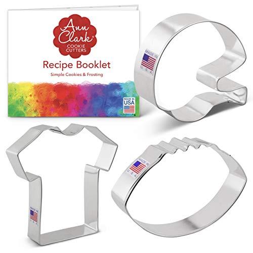 Ann Clark Cookie Cutters 3-Piece Football Cookie Cutter Set with Recipe Booklet, Football, Football Helmet, and T-Shirt