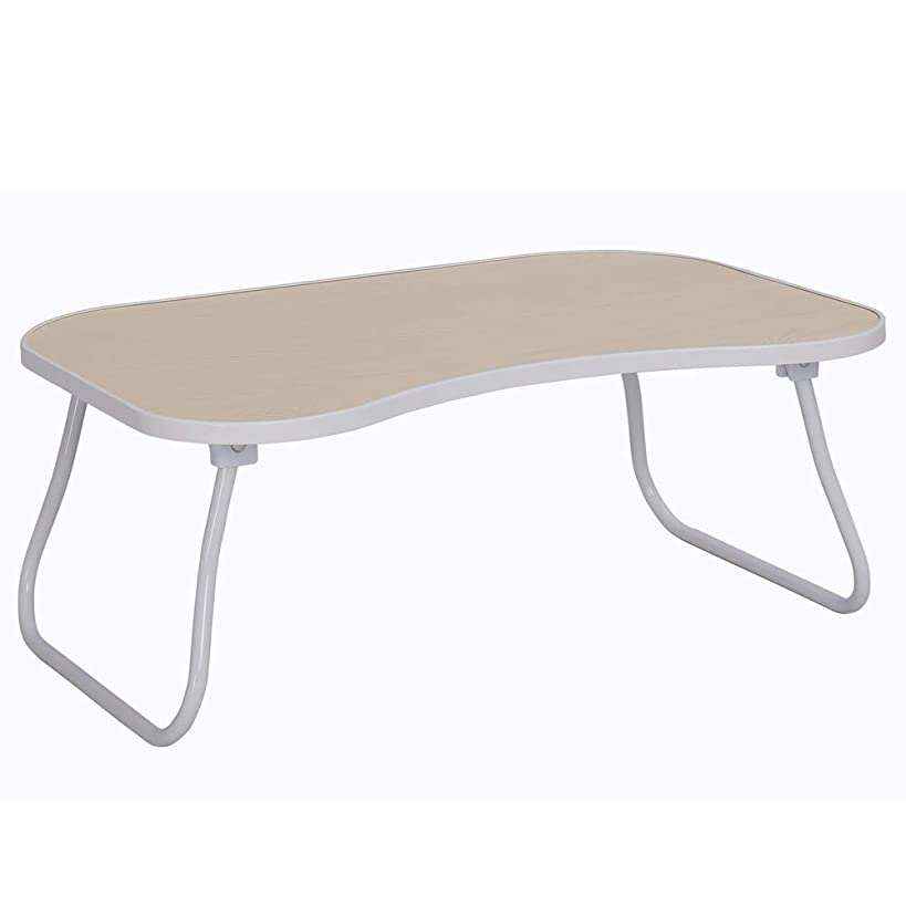 Home-Like Folding Laptop Table Bed Desk Standing Desk Breakfast Bed Tray Portable Table Stand Serving Tray Reading Holder Notebook Stand Camping Table in White 23.62''W x 15.74''D x 9.64''H(008-White)