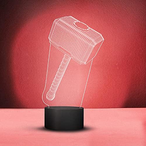 LED-Lampe mit 3D-Darstellung von Thors Hammer Mjölnir, USB-Kabel, sechs wechselnde Farben, Dekoration, Acryl, mit flacher Fernbedienung, Berührungsschalter, Nachtlicht, Geschenkidee für Marvel Fans